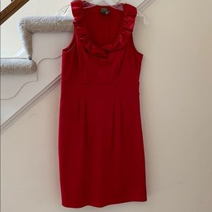 Red sleeveless dress with ruffle neckline Taylor 8